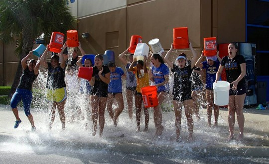 I have seen video and photos of so many ALS ice bucket challenges. This is Martin County of Stuart, Florida getting wet as a team.
