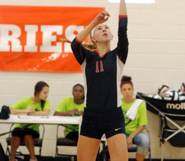Sacred Heart star setter Anna Zwiebel was a standout in the Valkyries' win Thursday night over No. 1 Mercy Academy
