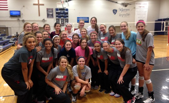 Good competition and fellowship were the order of the day on Sept. 6 at St. James Academy. Here, the Thunder players pose with the Mighty Macs of Mother McAuley. A group photo with players from Dike-New Hartford followed later in the day.