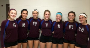 "The ""Assumption 7,"" from left: Lee Ann Cunningham, Lexie Hamilton, Molly Sauer, Jordyn Kuchenbrod, McKenzie Watson, Kenzie Maloney and Allie Gregory"