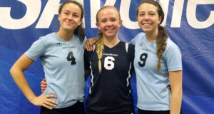 Karysa Swackenberg, left, Mika Dickson and Emerson Gerali at Junior Nationals last year