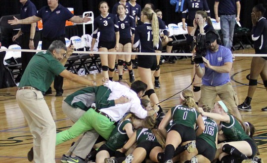 Venice works on building its own teepee on the court after the Indians knocked off Vanguard for the Florida 6A title