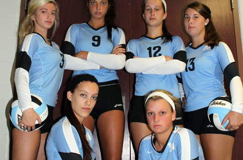 You can smile now Mercy seniors. Your team IS PrepVolleyball.com's 2014 National Champions! Pcitured front row, l-r: Devon Rachel and Sarah Bell. Back row, l-r: Nikki Koval, Lexie Hamrick, Merideth Jewell and Marissa Merilatt