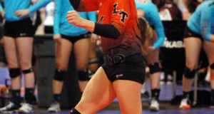 Lake Tapps libero Victoria Hernandez celebrates her team's good play at the Las Vegas Classic