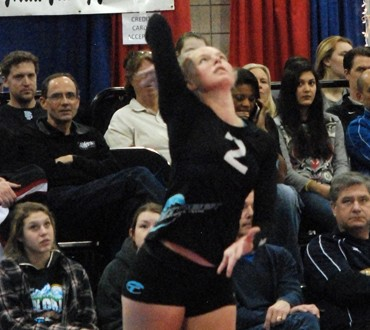 Tstreet 18s' Kathryn Plummer with a serve during Sunday's action. Tstreet, along with Long Beach and Five Starz, earned bids in 18 Open.