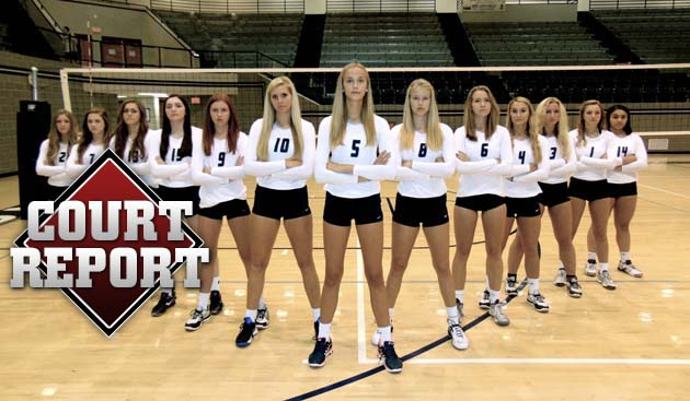 Edmond North's team photo features freshman Grace Frohling at the tip. Frohling is the first freshman on varsity at the nationally-ranked school since her senior sister Hannah Rose.