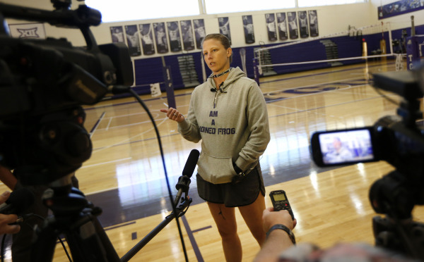 TCU's Jill Kramer speaks with reporters during Media Day. (Photo by Ron Jenkins)