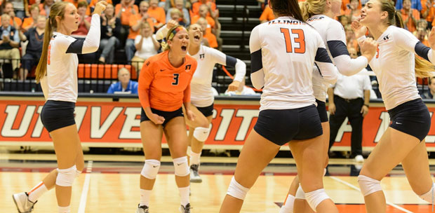Brandi Donnelly (3) reacts to the Fighting Illini's victory over Louisville. For her efforts this weekend, Donnelly is one of our Player of the Week honorees. (Illinois Athletics)