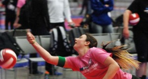 Class of 2016 libero Hope Larmour lays out for a Spalding volleyball at the Unsigned Showcase in Cleveland last season.