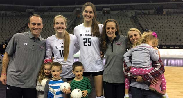 Jenna Gray, left, and Audriana Fitzmorris, seen here with the St. James coaches and their kiddos, are PrepVolleyball.com's National co-Senior Players of the Year