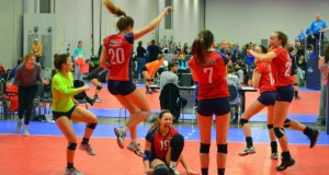 NKYVC 18 Tsunami reacts after clinching a bid in Columbus over the weekend. (Courtesy NKYVC)