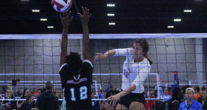 Top Select 17s' Shannon Crenshaw (12) goes on the attack during the first day of the Big South Qualifier. Crenshaw is just one reason why Washington's future is bright.