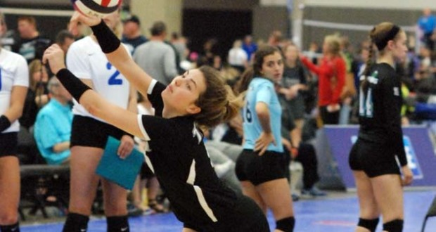 Berklie Baker makes an acrobatic save for TAV, which placed second in 17 Open