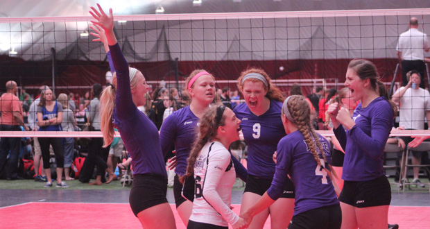 Nebraska Elite 16 players celebrate a point during Day 2 play. NE Elite went 3-0 to reach the gold bracket in 16 Open.