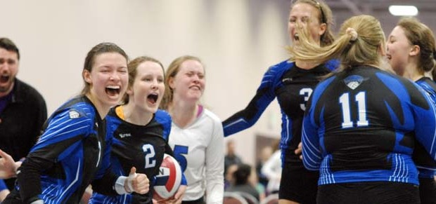 After Mac May (3) scored off speed, giving Adrenaline a 16-14 Game 3 win over LoneStar, she celebrates the 17 Open bid with coach Austin Filer and teammates Isabel Potter (7), Taylor Fisher (2), Kendal Meier (5) and Shannon Stamp (11)