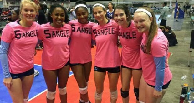 """The """"5angles,"""" a combo of five A5 players and one from Triangle, fought to the finish at AAU Nationals. Meghan Gasper is on the far right"""
