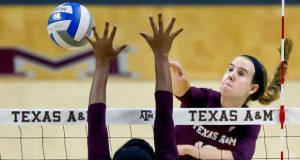 Texas A&M's Emily Hardesty (hitting) was already viewed as a complete player before heading off to college. She was Senior Ace No. 81 and is featured below. (Courtesy Texas A&M athletics)