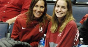 Wendy Rush, left, with her youngest daughter, Ashley,who will play for USC in 2018 (and hence is wearing Stanford gear for the last time in her life!)