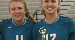 Setter Courtney Weber, left, and hitter Taylor Rowland are two of 52 finalists for National Junior of the Year
