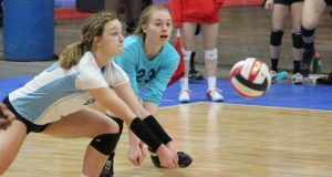 Michio 17 libero Allison Yacko (left) makes a play on the ball Saturday. Yacko is one of many standouts from Day 1.