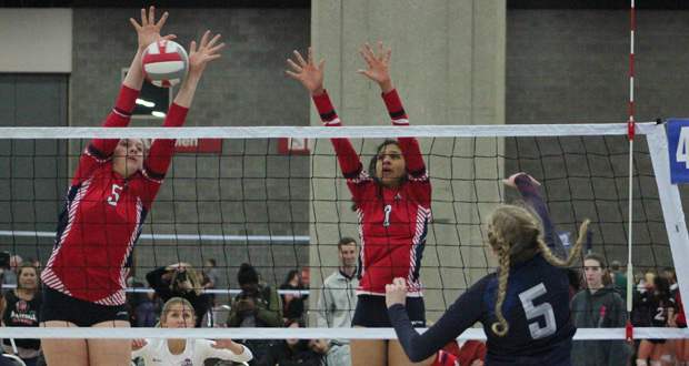 OTVA 15's Audrey Douglas (5) and Leandra Mangual (7) go up on the block.